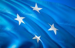 Micronesia flag. 3D Waving flag design. The national symbol of Micronesia, 3D rendering. Micronesia 3D Waving sign design. Waving. Sign background wallpaper. 3D royalty free stock photography