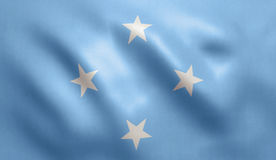 Micronesia Flag. With fabric texture. 3D illustration Stock Image