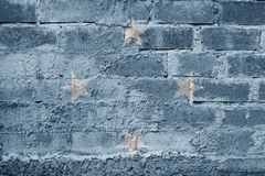 Micronesia FLAG PAINTED ON BRICK WALL COOL. NICE Royalty Free Stock Image