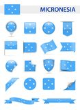 Micronesia Flag Vector Set. Micronesia Flag Set - Vector Illustration Royalty Free Stock Photography