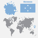Micronesia map on a world map with flag and map pointer. Vector illustration Stock Photography