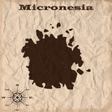 Micronesia old map with grunge and crumpled paper. Vector illustration Royalty Free Stock Photos