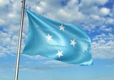 Micronesia zaznacza falowanie z niebem na tło realistycznej 3d ilustraci royalty ilustracja