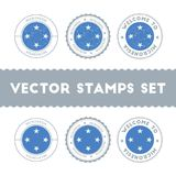 Micronesian flag rubber stamps set. National flags grunge stamps. Country round badges collection Stock Photo
