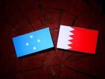 Micronesian flagga med den bahrainska flaggan på en isolerad trädstubbe arkivfoto
