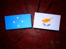 Micronesian flagga med den cypriotiska flaggan på en isolerad trädstubbe arkivbilder