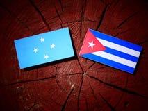 Micronesian flagga med den kubanska flaggan på en isolerad trädstubbe royaltyfria bilder