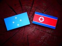 Micronesian flagga med den nordkoreanska flaggan på en trädstubbe royaltyfria bilder