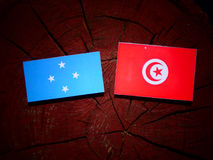 Micronesian flagga med den tunisiska flaggan på en isolerad trädstubbe royaltyfri fotografi