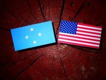 Micronesian flagga med USA flaggan på en trädstubbe arkivbild