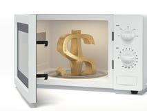 Microonda con la muestra de dólar Foto de archivo libre de regalías