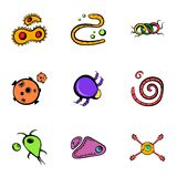 Microorganism icons set, cartoon style. Microorganism icons set. Cartoon illustration of 9 microorganism vector icons for web Royalty Free Stock Photo
