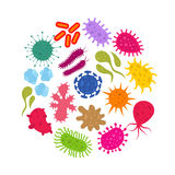 Microorganism and primitive infection virus. Bacteria and germs vector icons. Virus infection, illustration of microorganism bacteria Royalty Free Stock Image