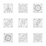 Microorganisms line icons collection Royalty Free Stock Image