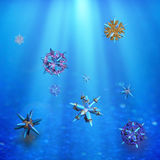 Microparticles under water Stock Photography