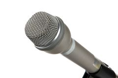 Microphone. Handheld silver omnidirectional microphone against a white background royalty free stock images