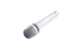 Microphone. Beautiful new microphone on a white background royalty free stock image