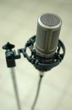 Microphone. Silver microphone on the stand stock photos