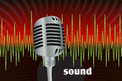 Microphone. Graphic illustration of microphone and sound waves Stock Photography