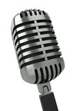Microphone. Classic microphone against a white background. 3D render Stock Photos