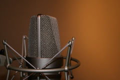 Microphone. Professional studio recording microphone on shock mount Stock Photography