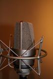 Microphone. Professional studio recording microphone on shock mount royalty free stock images
