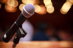 Microphone. On the concert stage Stock Photos
