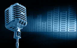 Microphone. Shiny microphone on abstract background Royalty Free Stock Photos