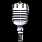 Microphone 2. 3d render of a vintage microphone on a black background royalty free illustration