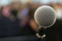Microphone 2. Microphone in a crouded church Royalty Free Stock Photography