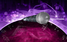 Microphone. Digital illustration of microphone in colour background Stock Photography