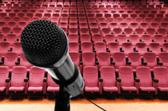 Microphone. Closeup of microphone in auditorium before a conference royalty free stock image