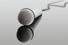 Microphone. And audio jack cable. Can be used in a music concept Royalty Free Stock Photo