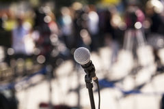 Microphone. At a news conference Stock Images