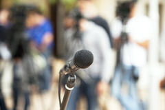 Microphone. At a press conference Stock Images