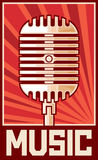 Microphone. Music poster, retro microphone, music microphone Royalty Free Stock Photos