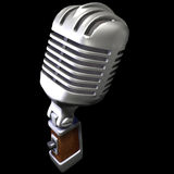 Microphone. 3d render of a vintage microphone on a black background Stock Image