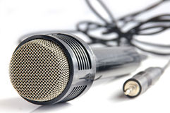 Microphone. And plug stock photos