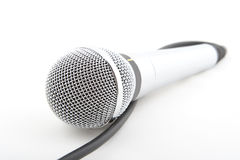 Microphone. Metal microphone on a white background Royalty Free Stock Photography