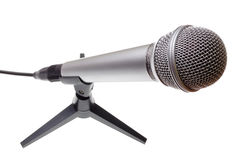 Microphone. Dynamic microphone isolated on white royalty free stock photos