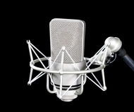 Microphone. On stand isolated on black Stock Photo