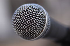 Microphone. Old microphone detail, metal wired covers royalty free stock image