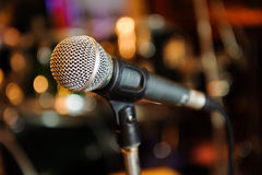 Microphone. For amplification sound, such as speaking or singing stock images