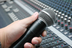Microphone amplifier for talks Stock Photos
