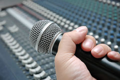 Microphone amplifier for talks Royalty Free Stock Images