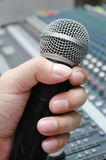 Microphone amplifier for talks Stock Image