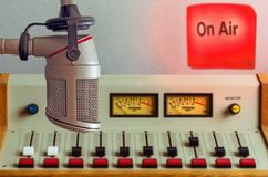 Microphone and audio console. In a radio studio Stock Images