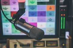 Microphone and audio console. In a radio studio Stock Image