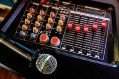 Microphone on audio control. In the singing room royalty free stock photography