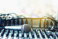 Microphone on the audio mixer in the conference room.  Stock Image